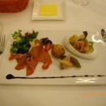 生ハムと、ポークリエット、アナゴの前菜