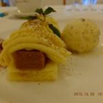 さつま芋と塩キャラメルのモンブラン 紅茶風味のアイスクリーム [ルヴェソンヴェール南大沢]